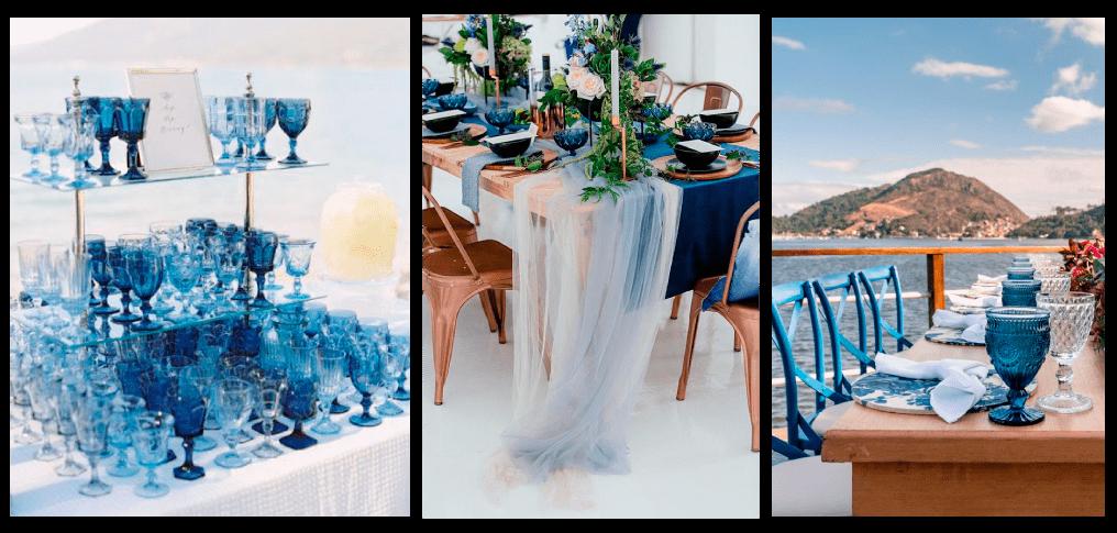 mesa com decoração azul